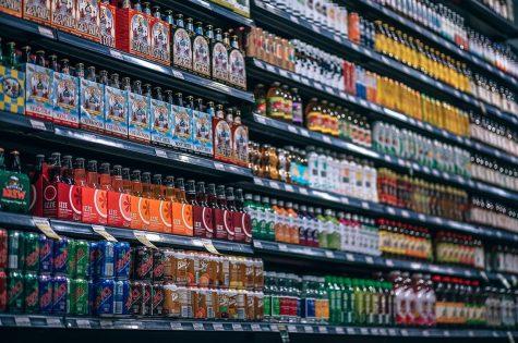 beverages, bottles, shelf